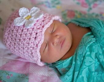 Newborn Baby Girl Hat Newborn Baby Hat Light Pink Flapper Beanie Flapper Hat White Flower Hat Baby Girl Beanie Photo Prop Photography Prop