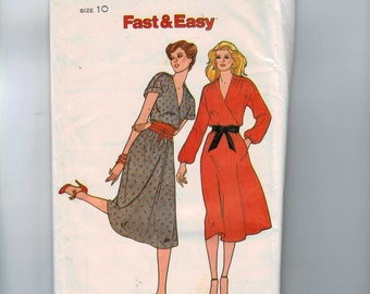 1980s Vintage Sewing Pattern Butterick 6730 Misses Easy Mock Wrap Dress Size 10 Bust 32 1/2 1980s 80s UNCUT