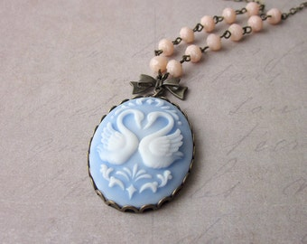 Swan Song Long Necklace in Blue and Peach