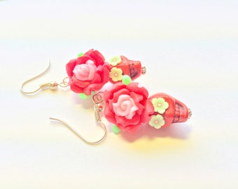 Red Pink and Green Day of the Dead Roses and Sugar Skull Earrings