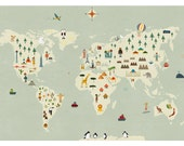 World map big print