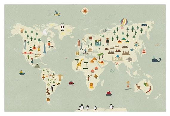world map big print. Black Bedroom Furniture Sets. Home Design Ideas