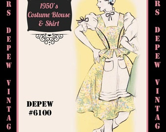 Vintage Sewing Pattern 1950's Costume German Damsel in Any Size - PLUS Size Included - Depew 6100 -INSTANT DOWNLOAD-