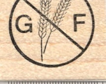 Gluten Free Rubber Stamp, Menu Symbol, Celiac Disease  D26002 Wood Mounted