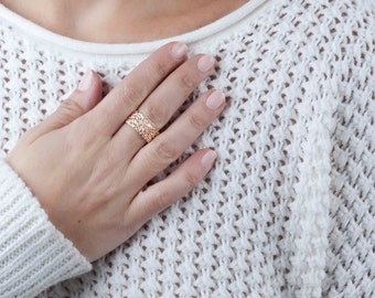 Wide Rose Gold Ring Rose Gold Band Ring Womens Ring Wide