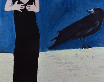 Woman Figure Painting Print. Black Crow Bird Digital Print. Print Wall Decor. Art Gift for Woman.