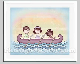 Family portrait, adoption art for children decor, Stronger 8 x10 parents brown hair African girl, baby nursery girl room decor