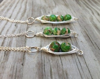 Sterling Silver Pea Pod Necklace, Three Peas in a Pod Necklace, Four Peas in a Pod Necklace, Green Pea Pod Necklace