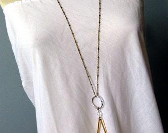 Boho Purity Quartz Long Necklace - Crystal Icicles Minimalist Layered Necklace - Clear Crystal Pendant -Simple Boho Bridal Necklace