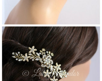 Wedding Hair Accessory Gold Bridal Hair Comb Pearl Crystal Flower Comb Vintage Leaf Comb  SABINE 2