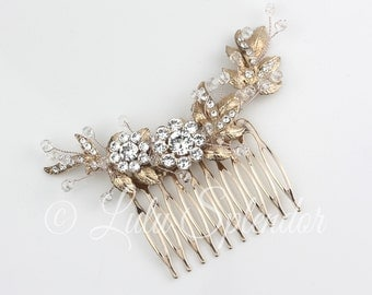 Bridal Comb Rose Gold Leaf Comb Wedding Hair Comb Swarovski Crystal Bead Wrapped Bridal Hair Comb Hair Accessory MIER CLASSIC