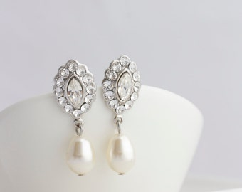 Bridal Earrings Small Wedding Earrings Swarovski Crystal Pearl Earrings Vintage Style Wedding jewelry MAE DROP