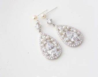 Crystal Bridal Earrings Long Chandelier Wedding Earrings Crystal Pearl Bridal Jewelry Bridesmaid Earrings TARA