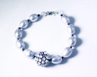 Silver Pearl Bracelet Moonstone Bracelet June Birthstone Bracelet Sterling Silver Bracelet Genuine Pearl Bracelet Real Pearl PD-B-124-ss