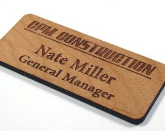 Personalized Name Tags,Wood Name Tags,Name Badge,Custom Name Tag,Name Tag Logo
