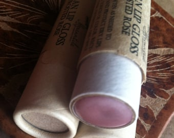 Vegan Lip Gloss - Frosted Rose - Big 0.33 ounce Compostable Plastic Free Cardboard Packaging