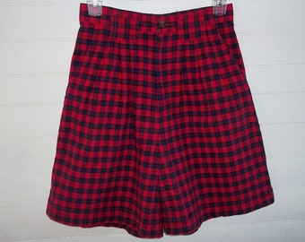 Palmettos Vintage 80s Red Plaid Cotton Shorts High Waist sz 9 W27