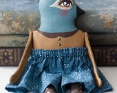 Sweet Contemporary Country Blue Bird One of a Kind Folk Art Doll - Whimsical Anthropomorphic Home Decor
