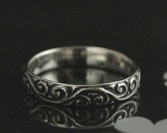 Tendrils and Thyme Sterling Silver Wedding Band--Embossed Vine Patterned Silver Wedding Ring--Oxidized & High Polished--Custom made to Size