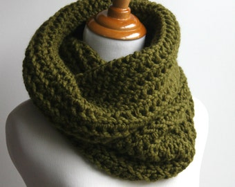 Chunky Cowl Scarf, Knit Cowl, Tall Cowl Scarf, Cozy Cowl, Cilantro Pullover Neckwarmer