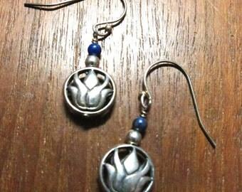 LOTUS Lapis Earrings - NEW BEGINNINGS, Sterling Silver