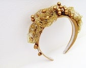 Gold Headband - Head Piece / Gold Pearl Berries - Gold Metal Lace Flowers / Holiday Party Fashion / OOAK / Gift Under 40