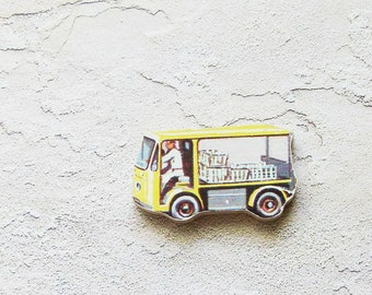1960s Milk Truck Brooch - Pin / Upcycled Vintage Hand Cut Wood Road Vehicle Puzzle Piece / White, Yellow & Black / Unique Gift Under 30