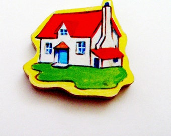 Cottage House Brooch - Lapel Pin / Red - White - Blue - Green - Yellow / Upcycled 1960s Wood Puzzle Piece / Unique Gift Under 20