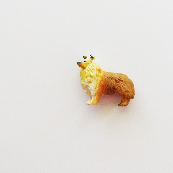 Collie Brooch - Pin / 3D Golden Brown & White Pet Pin / Upcycled Figurine / Gift Under 10 - CLEARANCE