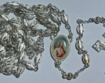 Rosary OOAK Silver Sacred Heart of Jesus -- Heavy