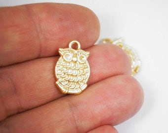 3pcs Matte Gold Plated tone Baby OWL Charms, Two Sided- OWL18x14mm-(023-006GP)