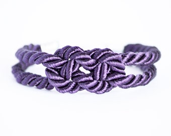 Dark purple double infinity knot nautical rope bracelet with silver anchor charm