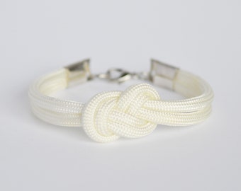 White infinity knot parachute cord rope bracelet