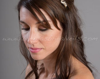 Gold Bridal Headband with Light Ivory Pearls, Rhinestones,  Wedding Hair Piece - Brandi