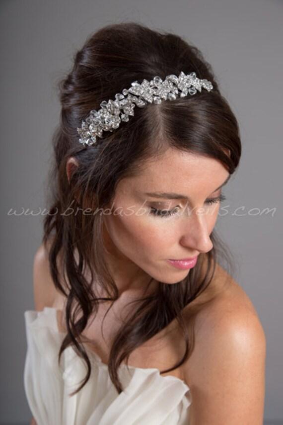 Wedding Hair With Rhinestone Headband : Rhinestone bridal headband wedding hair