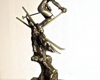 Mountain Muse Extreme Descent sculpture extreme skiing nude figure