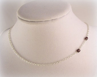 Garnet Vampire Bite Necklace *SALE* Sterling Silver Plated Chain & Clasp