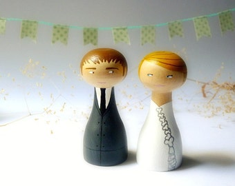 Wedding Cake Topper - Custom Wedding Personalized - Wooden art doll hand painted FREE SHIPPING