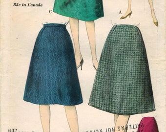 1960s Vogue 5321 Vintage Sewing Pattern Misses Flared Skirt, A-line Skirt Size Waist 28