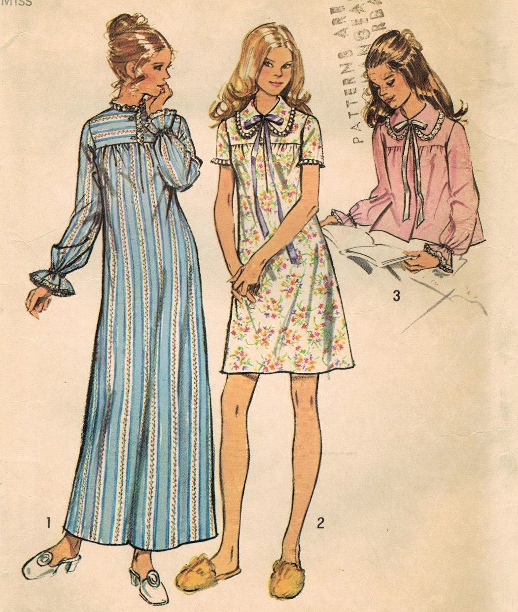 1970s Simplicity 5083 Vintage Sewing Pattern Misses Long Nightgown ... 969766399