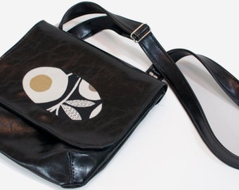 Vegan Porthole Handbag with Adjustable Strap, Black Faux Leather