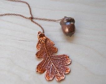 Copper Acorn and Oak Leaf Lariat - REAL Acorn and Leaf