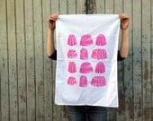 pink tea towel, jelly screen print tea towel, rasberry jello printed tea towels in cotton, dish cloth