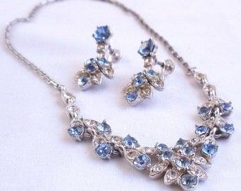 Vintage Bogoff Necklace Earrings Blue and Clear Rhinestones Runway Elegant Evening Set Circa 1940s 50s