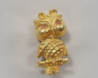 Vintage Mamselle Owl Pin Girl with Bow Pink Rhinestone Eyes 1960s