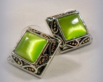 Retro Peridot Green Glass Moonstone Cabochon Earrings Gold Silver Plated Bezel Studs Post Back