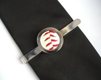 Base Ball Tie Clip - Wedding Tie Slide, Silver Plated Tie Bar, Tie Pin