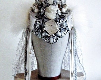 Winter Goddess Snow Queen Antler Headdress White Crystal Crown Ice Frozen Woodland Fantasy Wedding Silver Headpiece SKADI by Spinning Castle