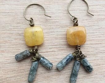E326 Gray and Mustard Dangle Earrings