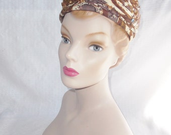 Clearance 1960's Vintage Mid Century Modern Print Turban Hat with Jewels by Abbye